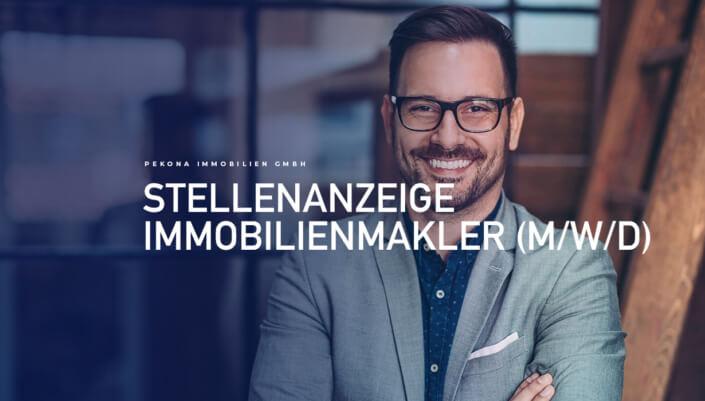Das Bild zeigt eine Stellenanzeige für einen Immobilienmakler in Schwabach.