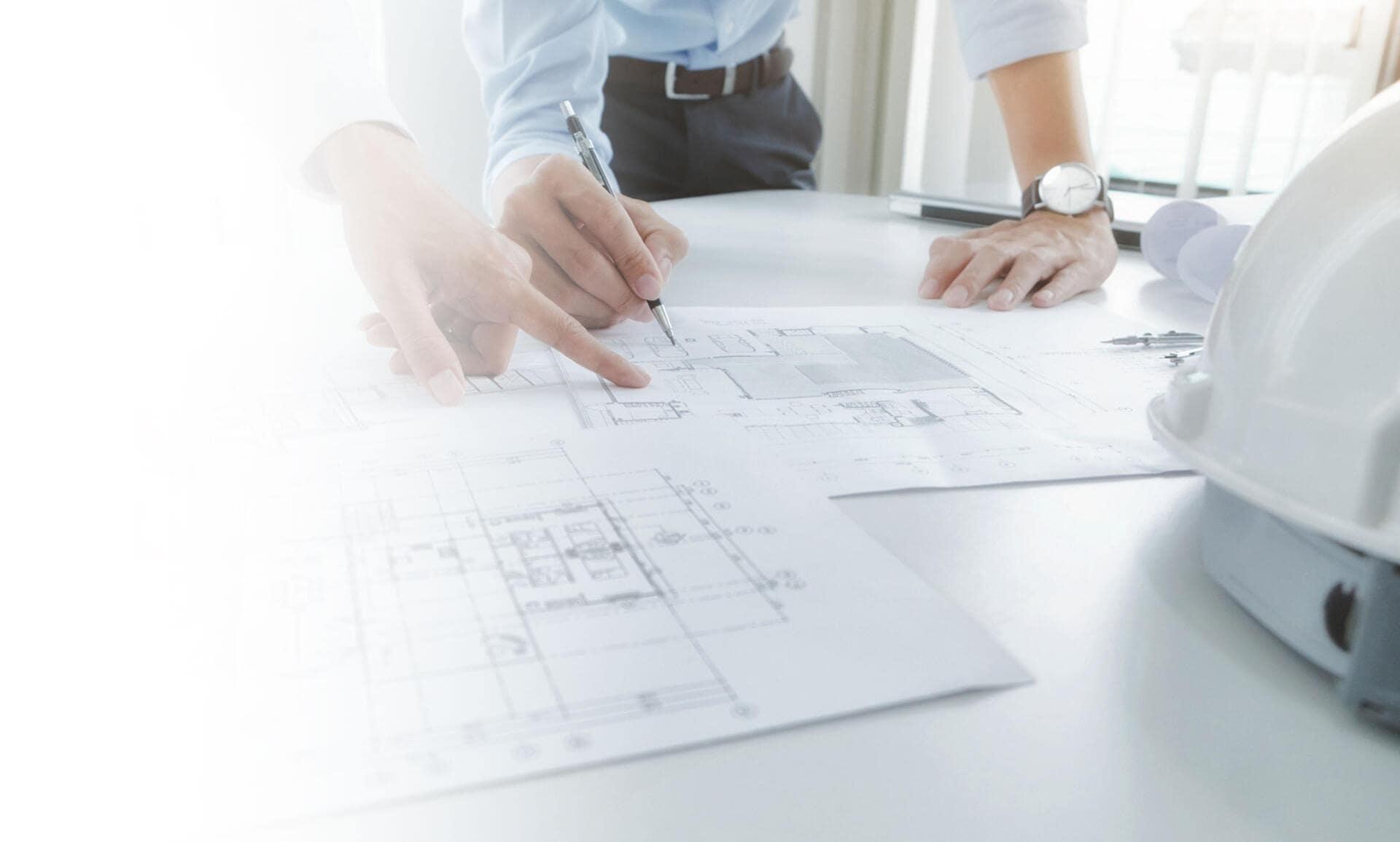 Das Bild zeigt einen Bauplan.